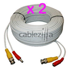 Lot2 Security Camera White Video Power Siamese Pre-Made Cable CCTV BNC RCA 100FT