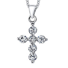 "925 Sterling Silver CZ Cross Pendant Necklace Includes 18"" Sterling Silver Chain"