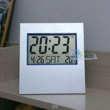 Digital LCD Alarm Clock with Calendar Temperature Wall Clock Table Clock Silver