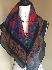 Vintage 1970's black paisley scarf 29 x 30 Red Blue Green polyester