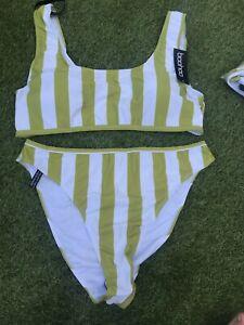 Boohoo Plus Striped High Leg Bikini Set Size 20 BNWT