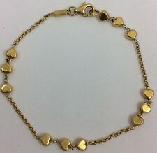 18K YELLOW GOLD ITALIAN HEART BRACELET