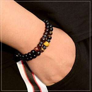 Men's Women Tiger Eye + Black Agate Beads Gorgeous Zircon Charm Stretch Bracelet