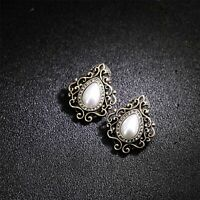 Earrings Nails Golden Art Deco Lacework Floral Drop Pearl White NN5