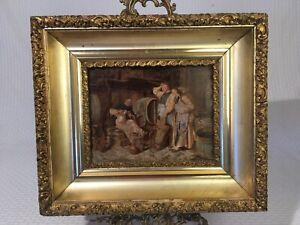 Antique Oil Painting Eduardo Von Grützner Drunk Monk  On Mahogany Panel Frame