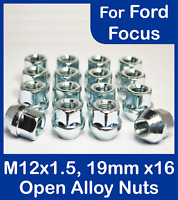 16x M12 x 1.5, 19mm Hex Open Alloy Wheel Nuts, For Ford Focus (Zinc)