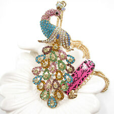 Betsey Johnson Bling Multi-Color Crystal Peacock Pendant Necklace Sweater Chain