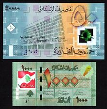NEW 1000 L.L COLORIZED >> I LOVE LEBANON << & 50000 L.L 2014 Polymer 2 Bills