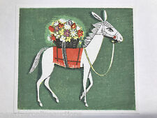 Japanese Woodblock Print by Ikeda Shuzo - Flower Horse 4.25 x 5