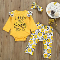 Toddler Infant Kids Baby Girl Sassy Tops T-Shirt Long Pants Outfits Clothes US