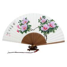 Hand Painted Oriental Asian Pink Flower Folding Mulberry Paper Bamboo Art Fan