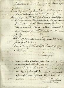 Manoscritto Certificato di Miserabilità Malattia ed Invalidità Reno Bologna 1711