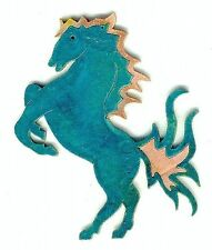 """COPPERCUTTS Rearing Horse Wall Plaque 4.5"""" x 5.5"""" Rustic SouthWest Copper & Wood"""