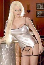Argent pour femme sexy Lingerie Underwear Babydoll pu Bikini Clubwear robe Basque