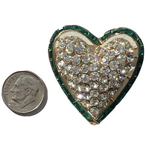 Corocraft Brooch Emerald Cut HEART Rhinestone Pin LARGE Gold Tone VINTAGE