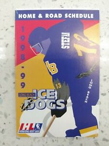 1998-1999 Long Beach Ice Dogs Pocket Schedule IHL Patrik Augusta Manny Legace