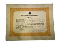 Vintage AMA Registration Certificate Friendship Motorcycle Club Oct 1928