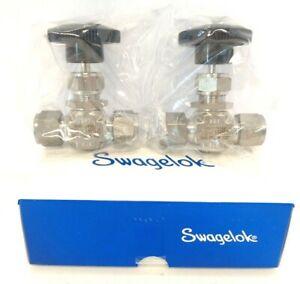 "1/2"" Swagelok SS-1RS8 Needle Valves. 5000 PSIG @ 100F. Tube Fitting. Box of 2."