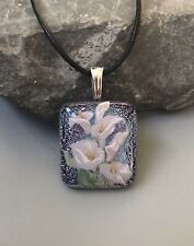 Calla Lily Fused Glass Pendant Handmade w/necklace