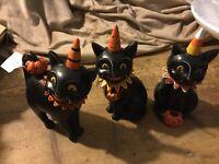 Johanna Parker Halloween Black Cat Trio Set of 3 Signed