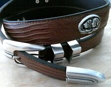 "Snake Skin Leather Belt with Hunting Dog Conchos 32 "" adjustable retriever bird"