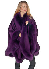 Womens Cashmere Cape with Fox Fur Trim - Purple Plum - Majestic