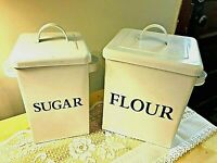 2 Enamelware Kitchen Canisters Flour Sugar Vintage Farmhouse Look FREE SHIP!