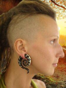 Ear Gauge Spiral Tribal Buffalo Pair Piercing Carved Horn/Bone Inlay Stretcher
