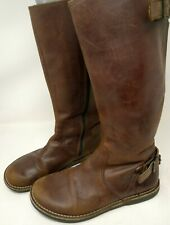 Kickers Brown Leather Pull On Knee High Womens Riding Boots Size 6.5 Euro 37