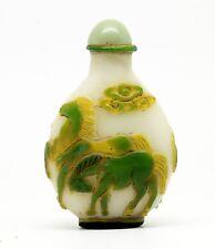 Tabatière chinoise, overlay, à décor de chevaux