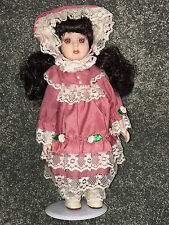 "VICTORIAN PORCELAIN DOLL 11"" Pink Dress W/ Roses & Lace BRUNETTE Bonnet VINTAGE"
