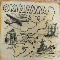 Vintage Silk Okinawa Japan Wall hanging map graphics Military RARE