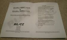 BLITZ BOOST CONTROLLER DUAL SBC SPEC R / S MANUAL INSTRUTIONS