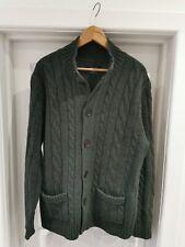 Men's Charles Tyrwhitt Lambswool Cable Knit Cardigan dark Green Large VGC warm