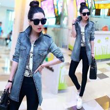 New Spring Women Fashion Frayed Long Denim Jacket Casual Windbreaker Jacket