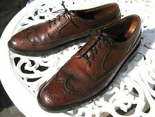 Vintage Florsheim Imperial Long Wing Tip Gunboat Shoes Sz 10 ½ A