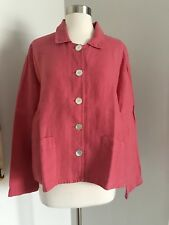 FLAX 100% Linen Button Down Two Front Pockets Pink Blazer Jacket Size M
