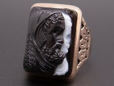 Mens 10k Rose Gold Carved Cameo Onyx Roman Soldier Cigar Band Ring Size 9.5