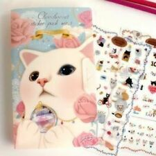 002 Jetoy Cat Pink Diary Deco 8 Sheets Stickers Album Kids, Girls, Children