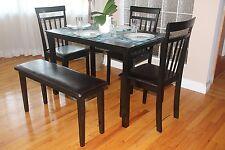 Dining Kitchen 5 PC SET Rectangular Table 3 Warm Chairs Bench Espresso Finish