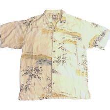 Tommy Bahama Men's Size M 100% Silk Yellow, Brown, Green Floral Hawaiian Shirt