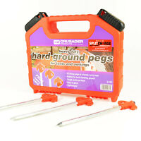 Hard Ground Rock Pegs Caravan Camping Pegs Tent Awning Metal with Carry Case