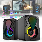 Computer Speakers Wired Mini USB 3.5mm LED RGB Stereo Bass For PC Laptop Desktop