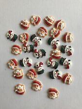 Christmas Flat Backs Hair Bows Embellishments Bundle Santa And Snowman 28 Pieces