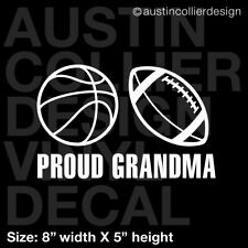 PROUD GRANDMA Vinyl Decal Car Truck Window Sticker - basketball football