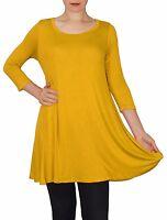 New 3/4 Sleeve Mustard Yellow Stretch Tunic Top Shirt Blouse Dress S M L Plus