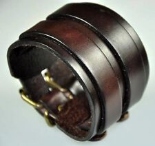 Quality Cool Double Layers Men's Vintage Leather Bracelet Wide Cuff Brown