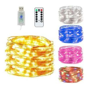 USB Twinkle LED String Fairy Lights Copper Wire Party Remote 5-20M 50-200LED New