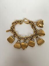 MOSCHINO Time 4 Shopping Charm Watch Bracelet Gold Plated