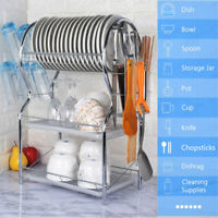 3 Tier Dish Rack Drainer Large Capacity Drying Kitchen Storage Stainless Steel